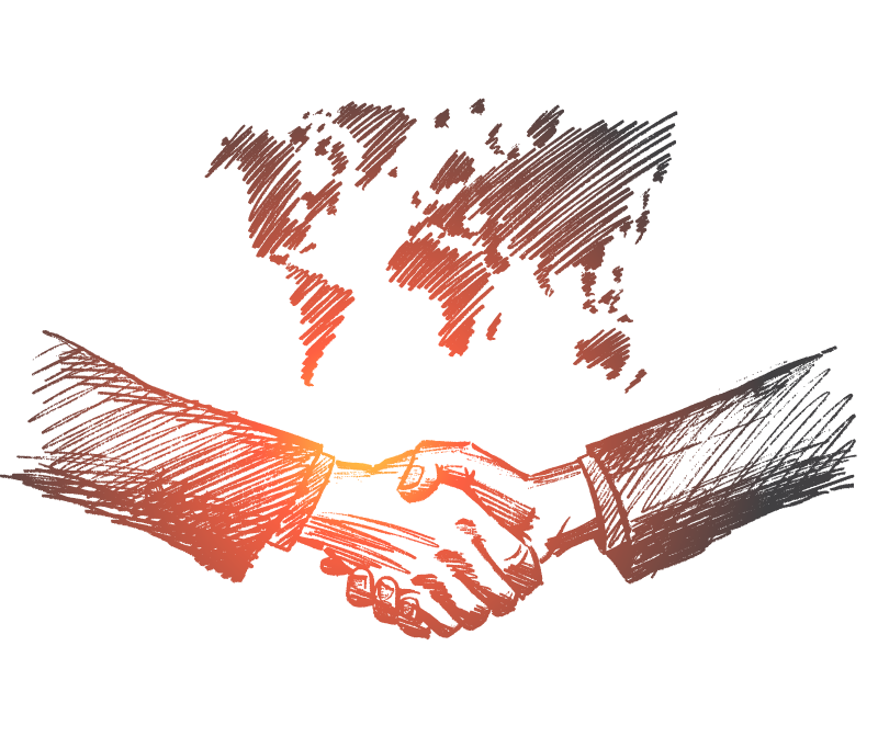 Stylized pencil illustration of two people's arms shaking hands in front of a world map